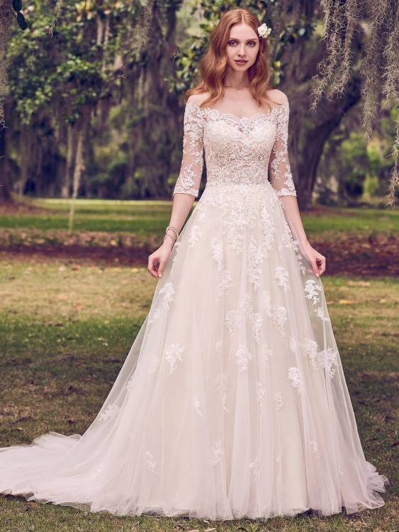 elegant full length country wedding dress with straps