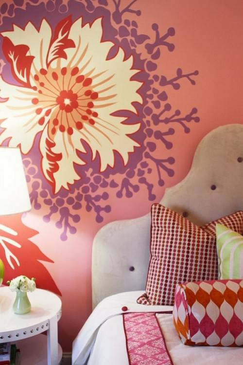 accent pillows and feature wall add chevron pattern to the stylish kids  room [