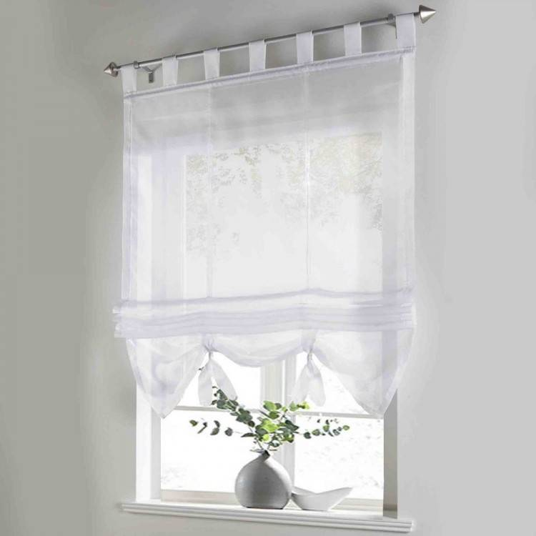 Kitchen Voile Curtains With Hand Made Popular Ribbon Design Solid Color Balcony