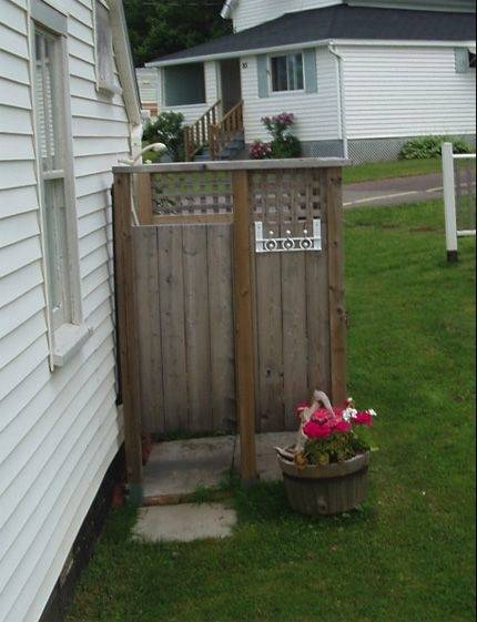 another pretty simple outdoor shower  design from a cottage in Pugwash