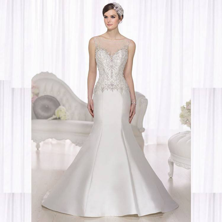 Buy 2015 Elegant Beaded Satin Wedding Dress Crystal Custom Made New Style See Through Mermaid Wedding Dresses Floor Robes De Mariage in Cheap Price on