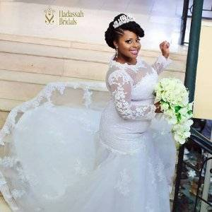 2017 African Nigerian Mermaid Wedding Dresses 2017 New Long Sleeves Lace Appliques Illusion Plus Size Court Train Tiered Formal Bridal Gowns Wedding Dress