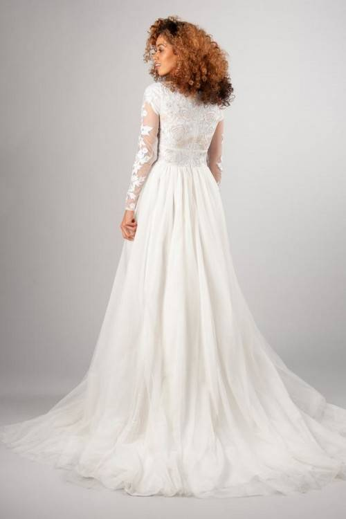 Classic lace gown, style Fielding, is part of the Wedding Collection of LatterDayBride,