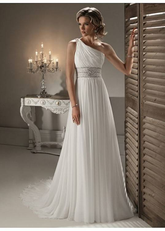 2014 Bridesmaid Dresses Sweet Princess Greek Style Goddess One Shoulder  Bare Pink Party Dress Pleats Discount Prom Dresses Blue Bridesmaids Dresses  Brides