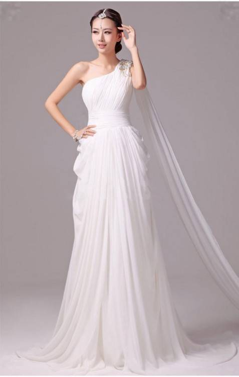 The goddess style wedding dresses are characterized by flowing  floaty