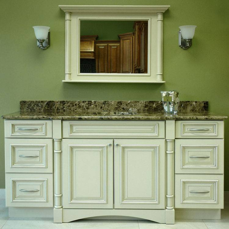 Another new trend in bathroom vanities is hanging the cabinets