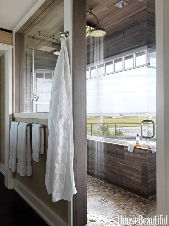 outdoor shower, it can be made to feel comfortable for you with extras like benches, shelves, doors and of course one of the biggest perks: the view!