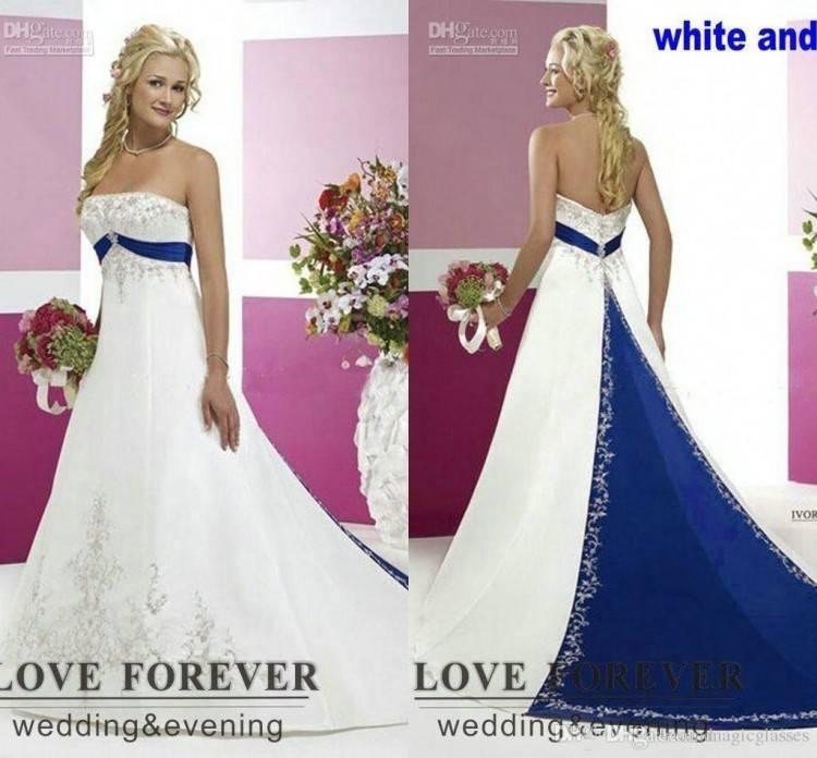 Großhandel 2017 Vintage Style Plus Size Brautkleider Silber Stickerei Auf  Satin Weiß Und Königsblau Bodenlangen Brautkleider Nach Maß Von  Magicglasses,