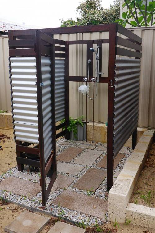 Minimalist approach to an outdoor shower