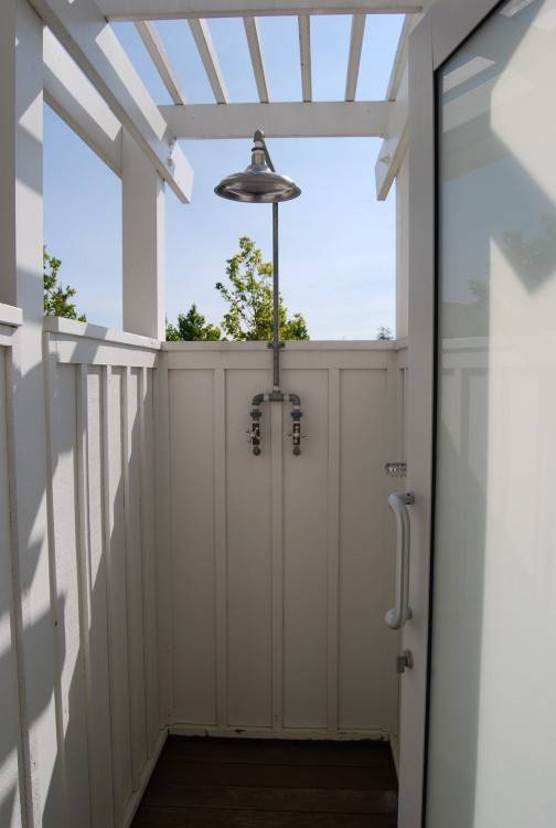 Outside the master bedroom, overlooking the backyard is a