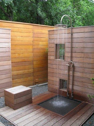 Our first summer vacation project at Old Farm was installing an outdoor  shower