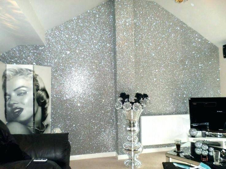Black and Silver #Glitterwallpaper used here in a bedroom project