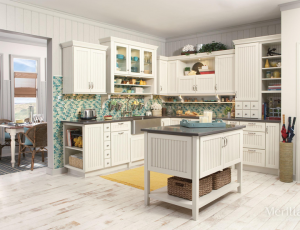 Kitchen wall cabinets are usually hung 18″ above countertops, 54″ above  floor and 24″ above the stove