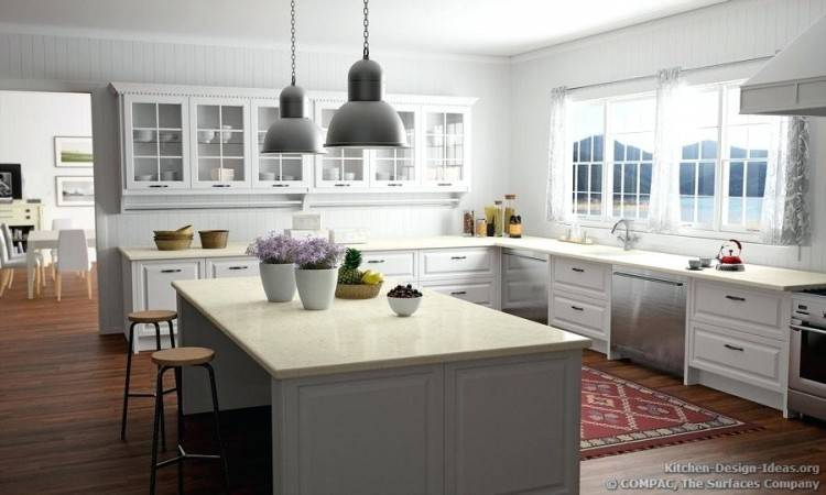 Brown Varnished Wooden Kitchen Cabinets With Black Glossy