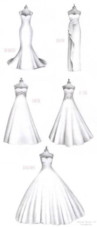 Wedding dresses come in all shapes and sizes, just like we all do! Knowing  your body type and which dress styles flatter your shape is essential when