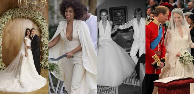 Vintage inspired wedding dress and bridesmaid dresses in similar styles