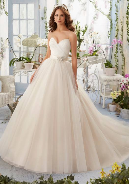 Tulle Plus Size Wedding Dress with Illusion Straps Style, Soft White