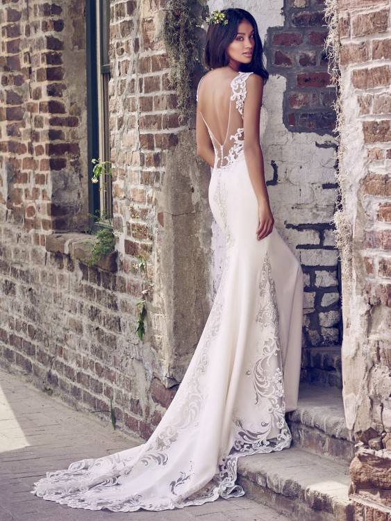 Modern lace modest wedding dress, style Everly, is part of the LatterDayBride Collection,