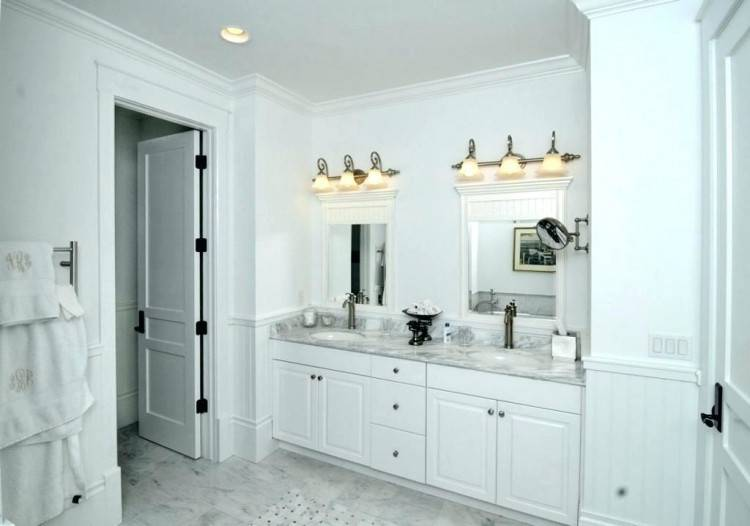 Cheerful Designs Of Bathroom Ideas Using Beadboard : Stunning Design Ideas Using Rectangular White Glass Cabinets
