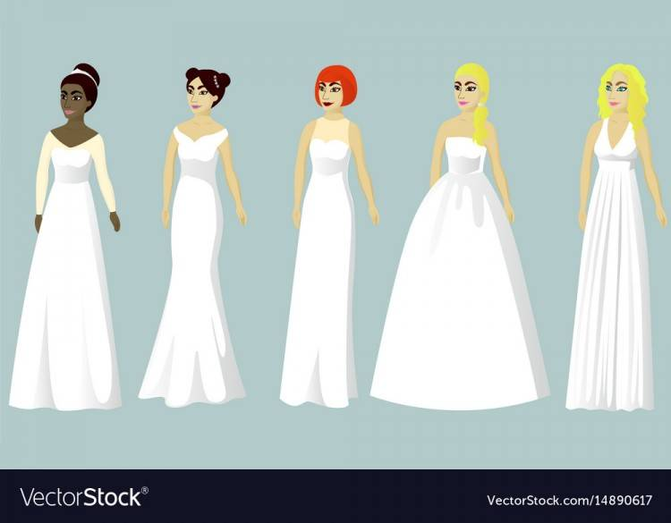 Brides in different styles of wedding dresses made in modern flat style