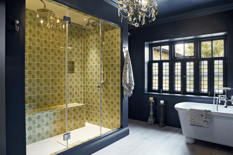 bathroom remodel, pale green walls, white ceramic sink and toilet, mirror and two Bathrooms Without Tiles – 50 Alternative Design Ideas