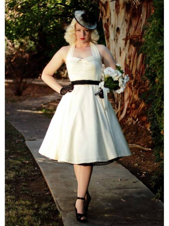 Ivory 50s Style Class Act Tea Length Wedding Dress
