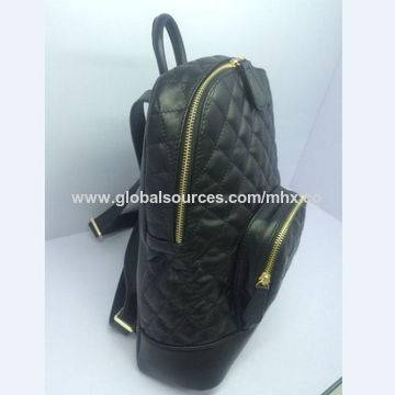 Black leather women`s backpack