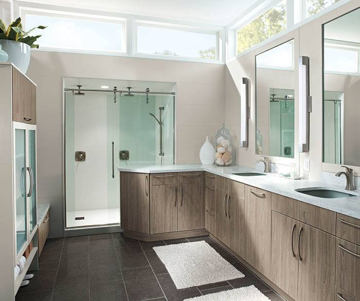 Contemporary bathroom vanity in thermofoil by Kitchen Craft Cabinetry