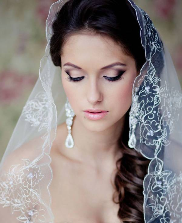 low updo with veil