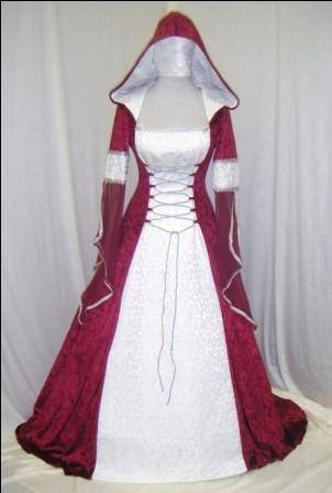 Exclusive white medieval wedding dress with handmade Celtic style embroidery for sale