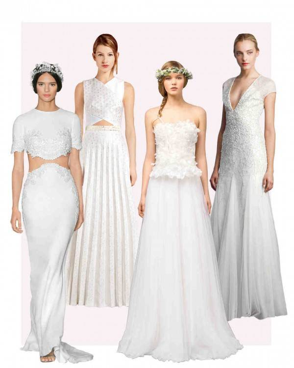 Wedding Dress Silhouettes, fit to flare not noted; but closest to modified trumpet and in between true trumpet and true mermaid