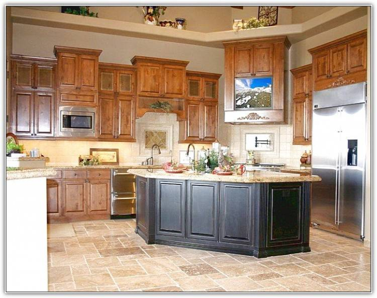 kitchen backsplash with oak cabinets