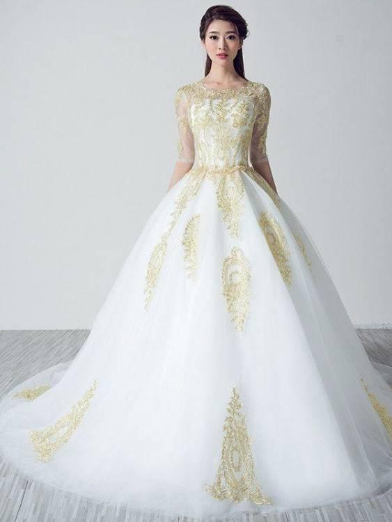 Gorgeous + glamorous sparkly gold wedding dress: