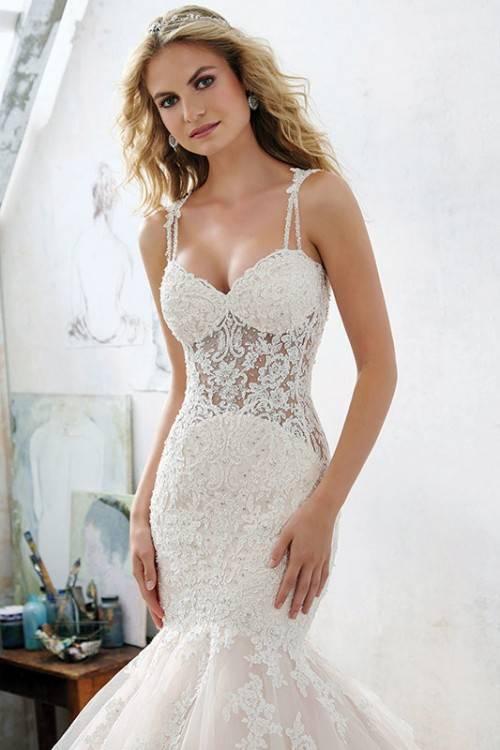 David's Bridal Jewel Spaghetti Strap Mermaid Wedding Dress Style, Ivory,