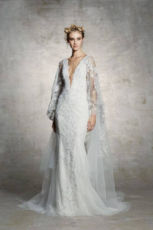 Style #18/1900L, bishop sleeve wedding dress with high neckline and lace  embroidery