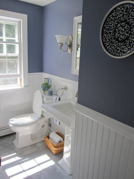 Beautiful earthy blue paint color for bathrooms, especially when paired with dark woods and whites