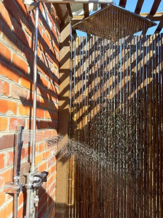 Here is an interesting shower made of bamboo