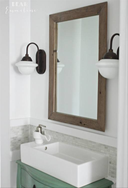 modern farmhouse vanity bathroom lighting ideas dark brown finish maple  wood laurel foundry vanit