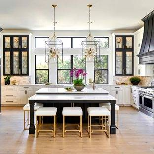 Beautiful Rustic/Modern Kitchen: Georgetown Alder Georgetown Knotty Alder Chestnut Glazed Ebony mixed with the Coastal Collection color of Seagrass creates
