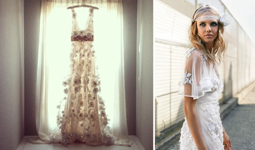 This boho wedding dress by Inbal Raviv definitely has something unique  about it! Channeling a slightly hippie and ultra romantic gypsy style,