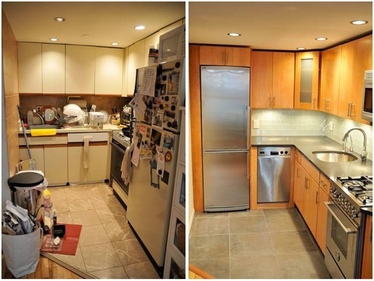 Our Ikea kitchen renovation! Akurum base cabinets in grey and Lindigo upper cabinets